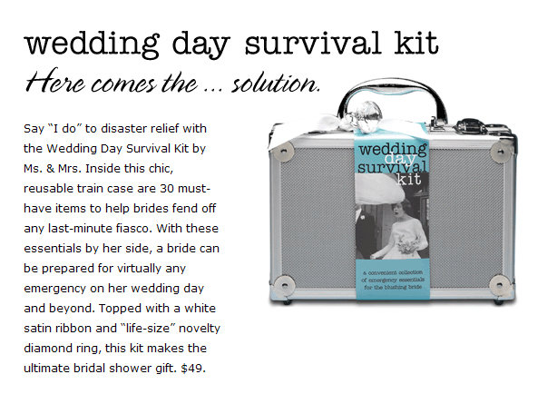 Wedding day survival kit bridalguide