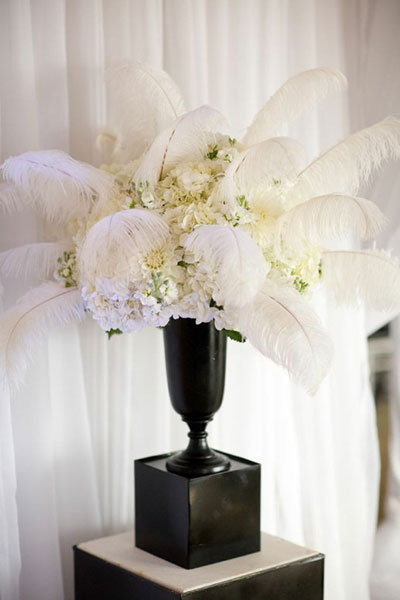 feather wedding centerpieces