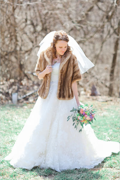fur jacket for winter wedding