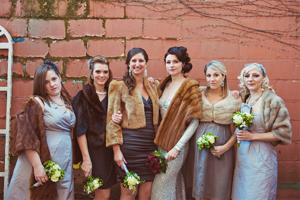 fur boleros for winter wedding