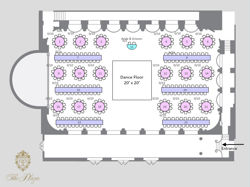6 creative ways to seat your wedding guests bridalguide for Banquet floor plan template