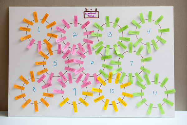 We found this simple yet genius DIY seating chart by Jen from