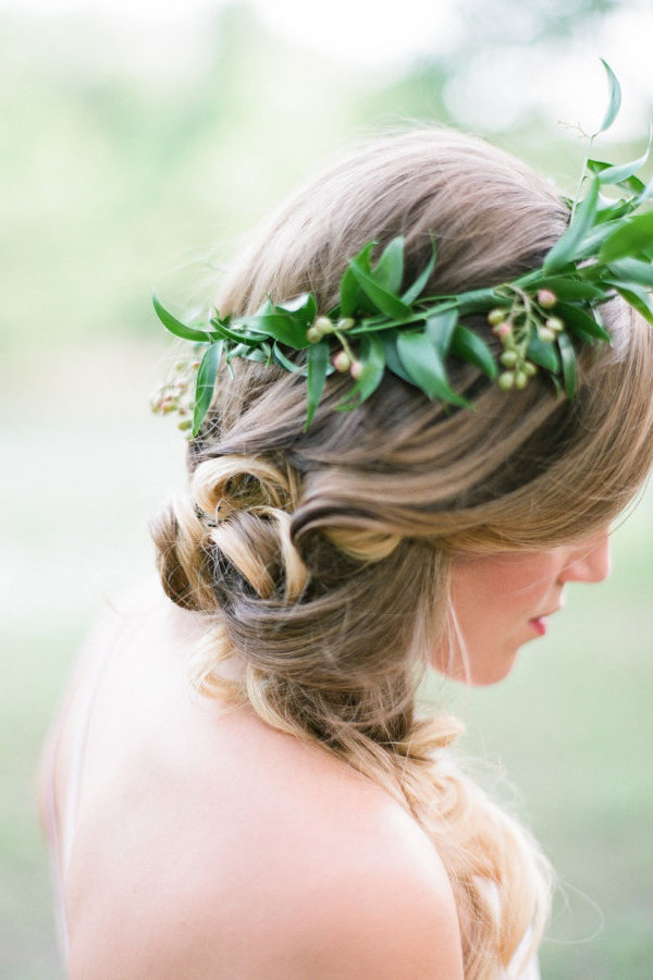 flower crown with greenery and berries