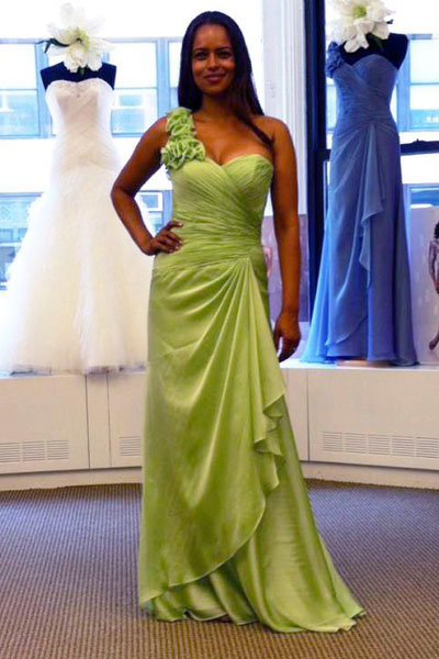 kathy ireland for mon cheri green bridesmaid dress