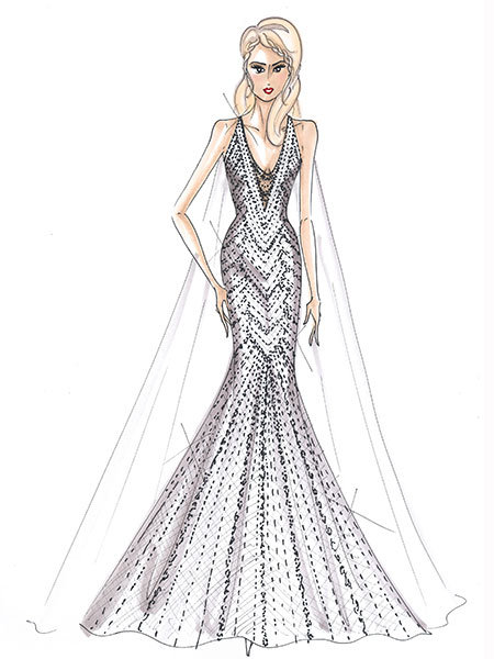 hayden panettiere wedding gown sketch