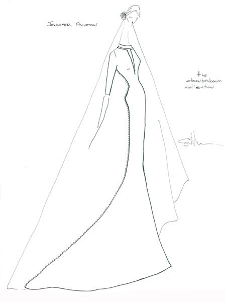 jennifer aniston wedding gown sketch