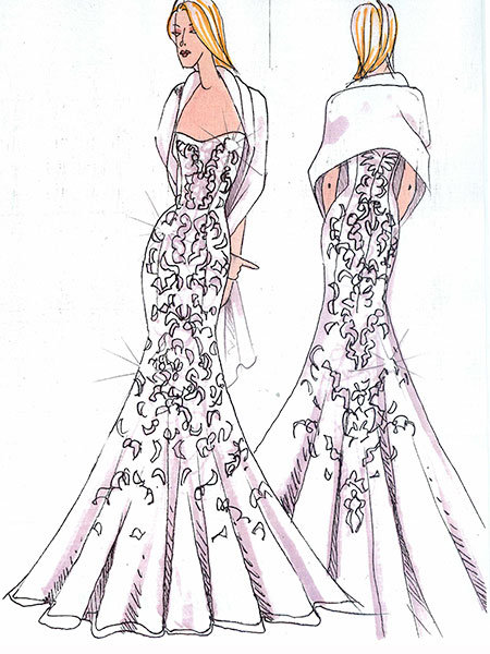 katie couric wedding gown sketch