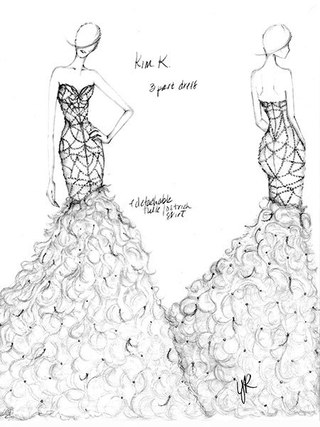 kim kardashian wedding gown sketch