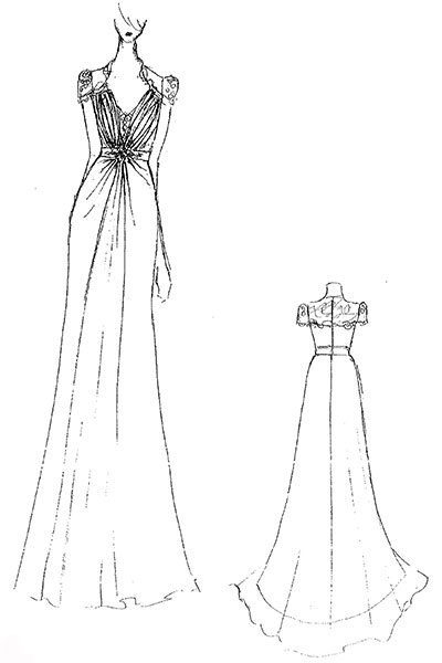 olivia wilde wedding dress sketch