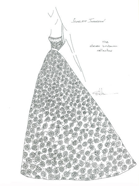 scarlett johannson wedding gown sketch