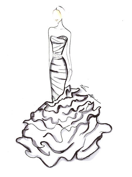 sofia vergara wedding gown sketch