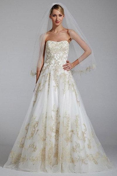 gold oleg cassini wedding gown