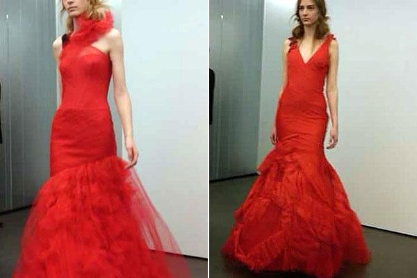 3560ae0deaf32 The Inside Scoop on Vera Wang's All-Red Bridal Collection | BridalGuide