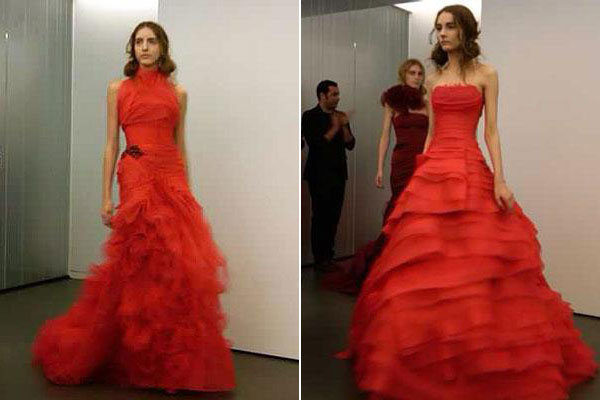 The inside scoop on vera wang 39 s all red bridal collection for Red wedding dress vera wang