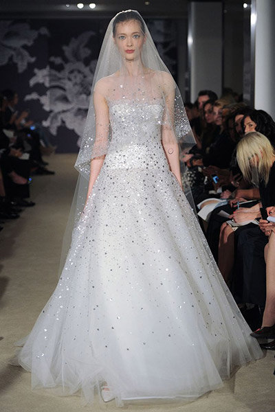 metallic carolina herrera wedding dress