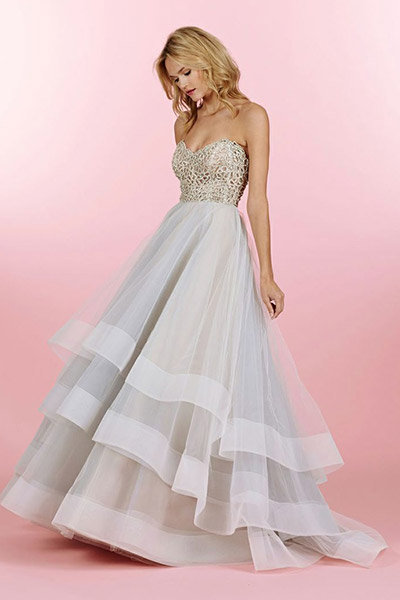 metallic hayley paige wedding dress