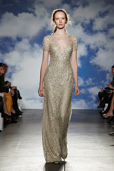 metallic jenny packham wedding dress