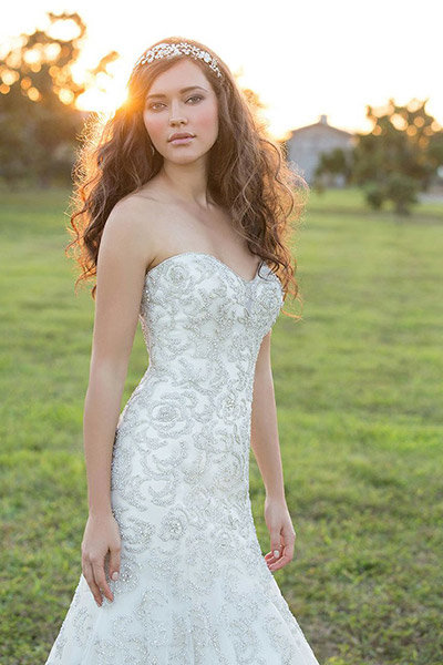 metallic madison james wedding dress