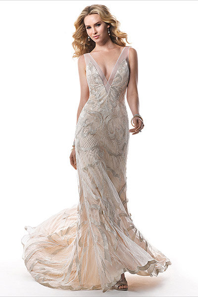metallic maggie sottero wedding dress
