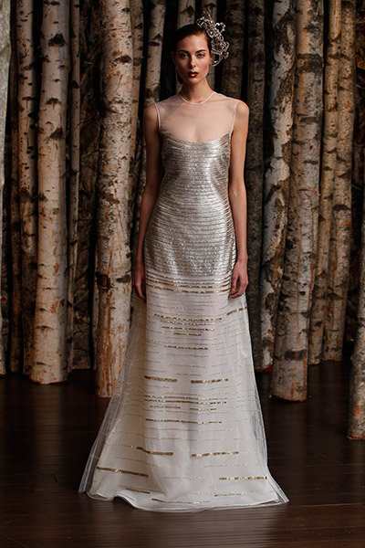 metallic naeem khan wedding dress