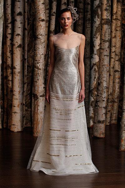 Get the look piper perabos metallic wedding dress bridalguide metallic naeem khan wedding dress junglespirit Choice Image