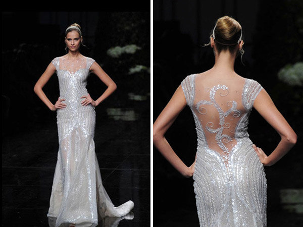 Get the look piper perabos metallic wedding dress bridalguide metallic pronovias wedding dress junglespirit Choice Image
