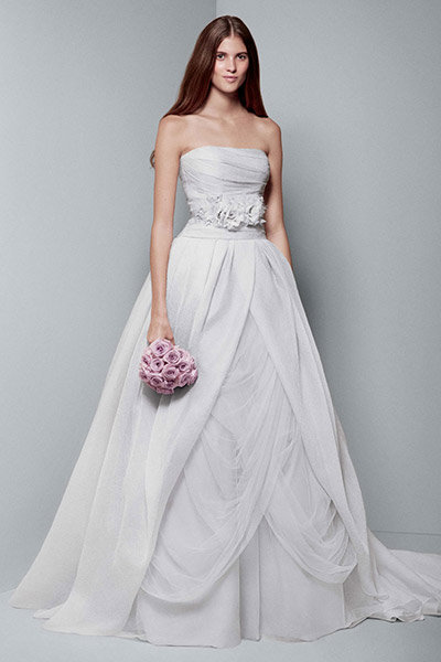 metallic white by vera wang wedding dress