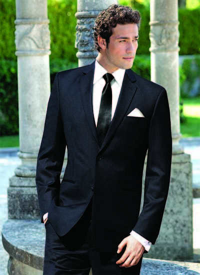 black suit and tie with white pocket square