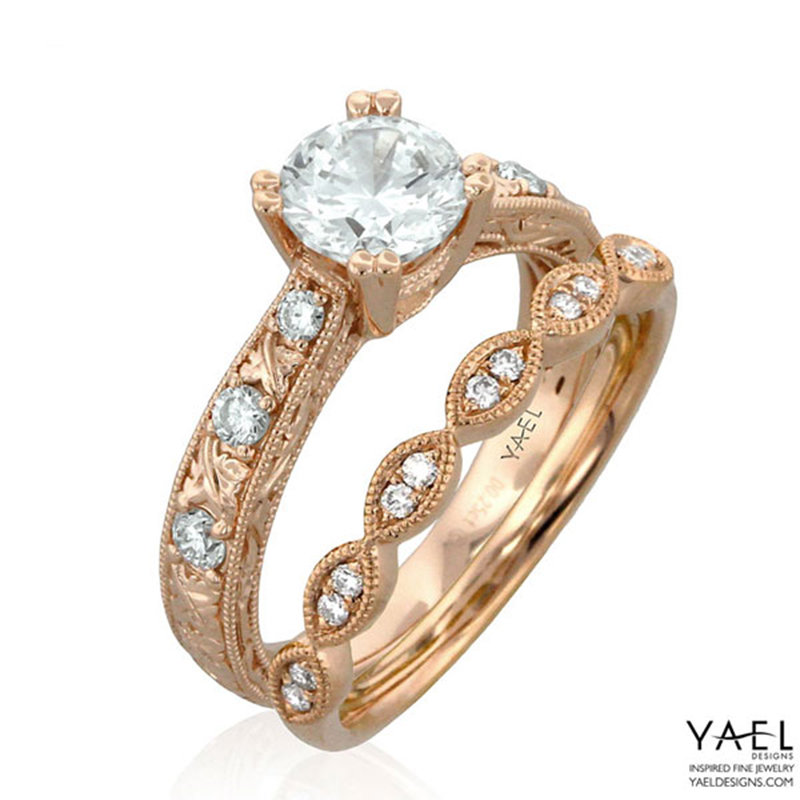 yael rose gold wedding rings