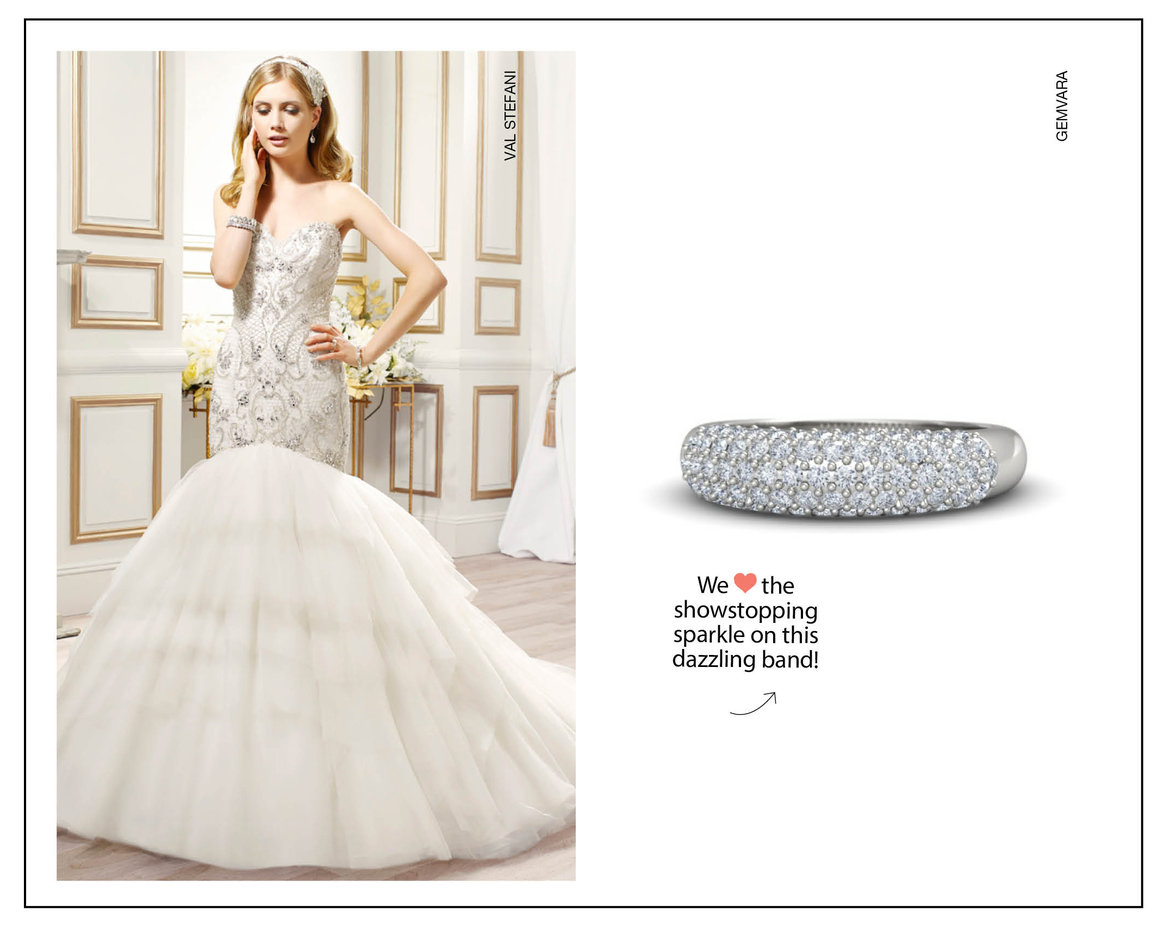 glam wedding gown and ring
