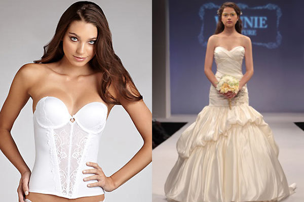 What to wear under your gown bridalguide for What to wear under strapless wedding dress