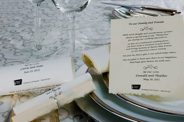 american cancer society wedding scrolls