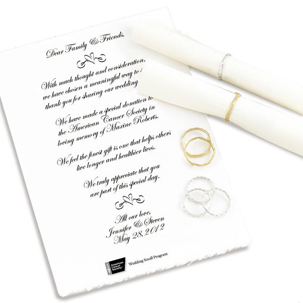 wedding scrolls charitable gifts of love bridalguide