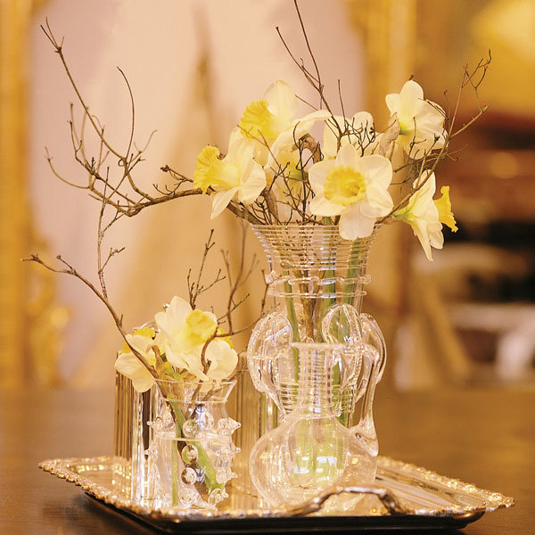 diy centerpiece with vintage vases