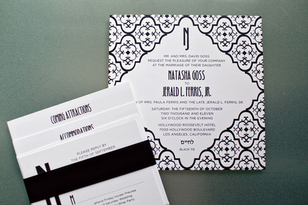 patterened wedding invitation