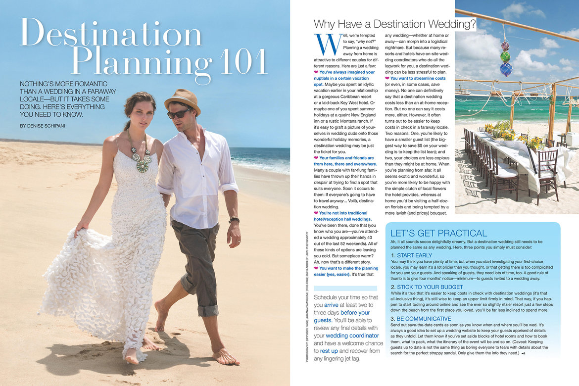 Inside the new issue bridalguide for Destination wedding planning guide