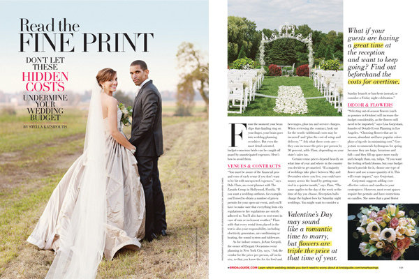 hidden wedding costs bridal guide november december 2013