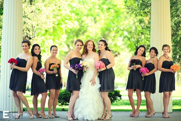 bridal party with bride
