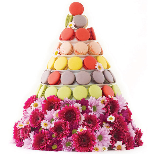 multicolored macaron wedding cake