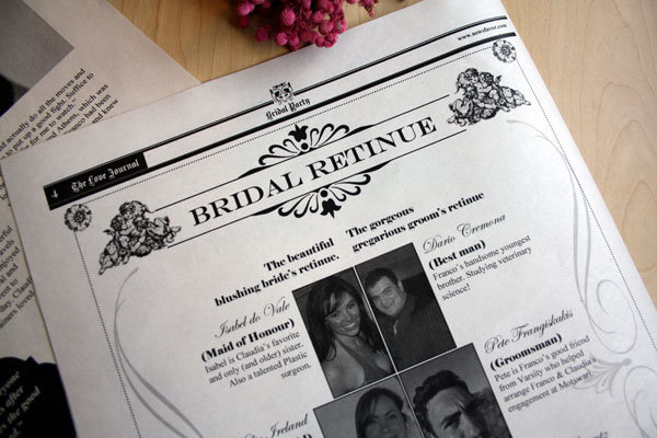 newsfavor wedding program