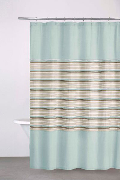dkny sahara stripe shower curtain in aqua