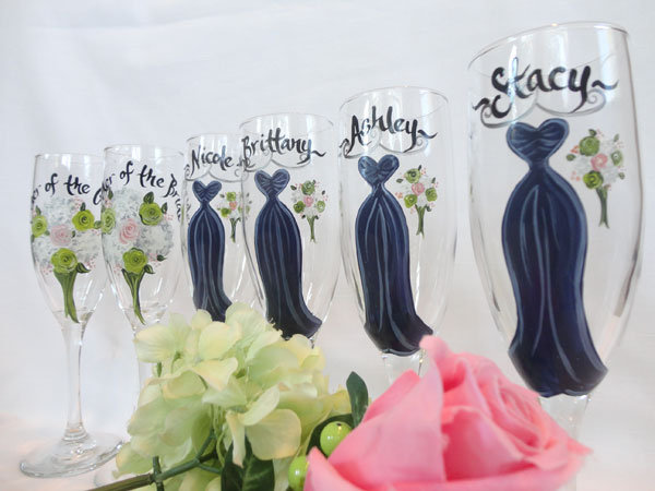 sam designs hand painted glasses for bridesmaids