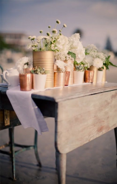 metallic table setting