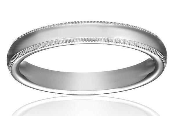 womens 14k white gold milgrain wedding ring