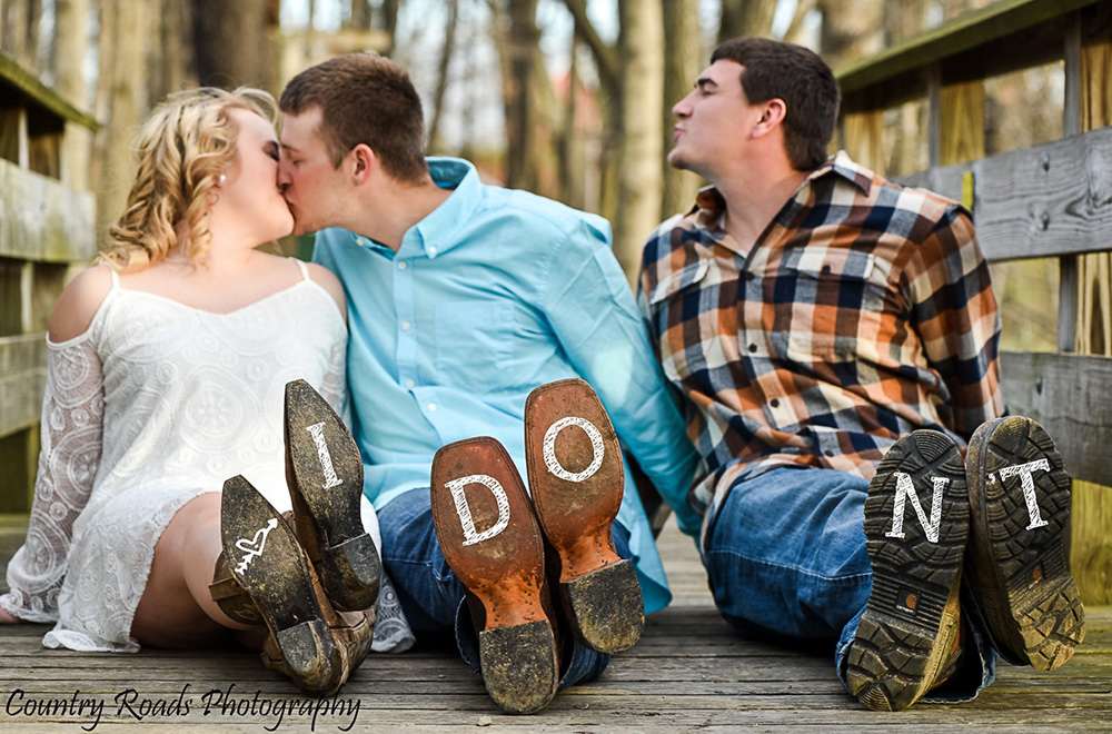 bride groom and best friend engagement photo