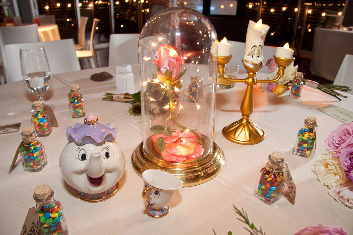 beauty and the beast disney wedding centerpiece