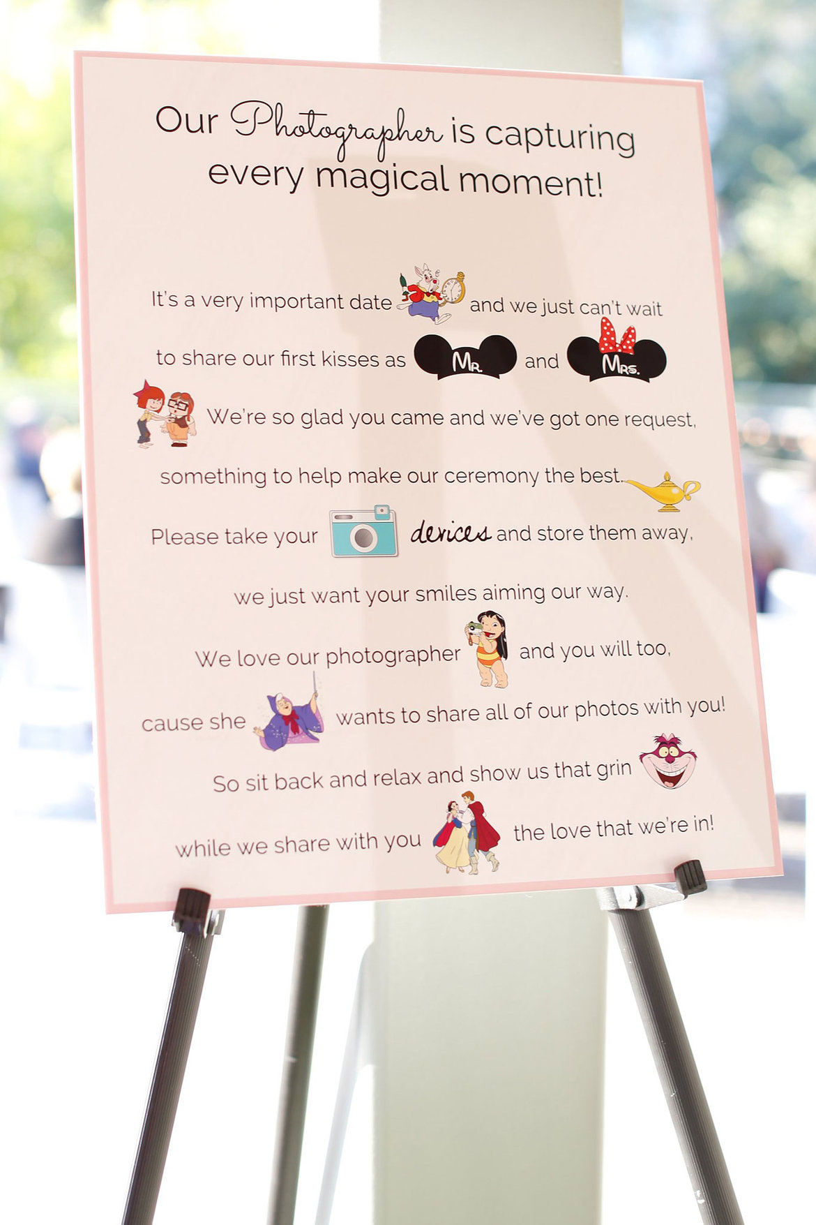 disney wedding ceremony sign