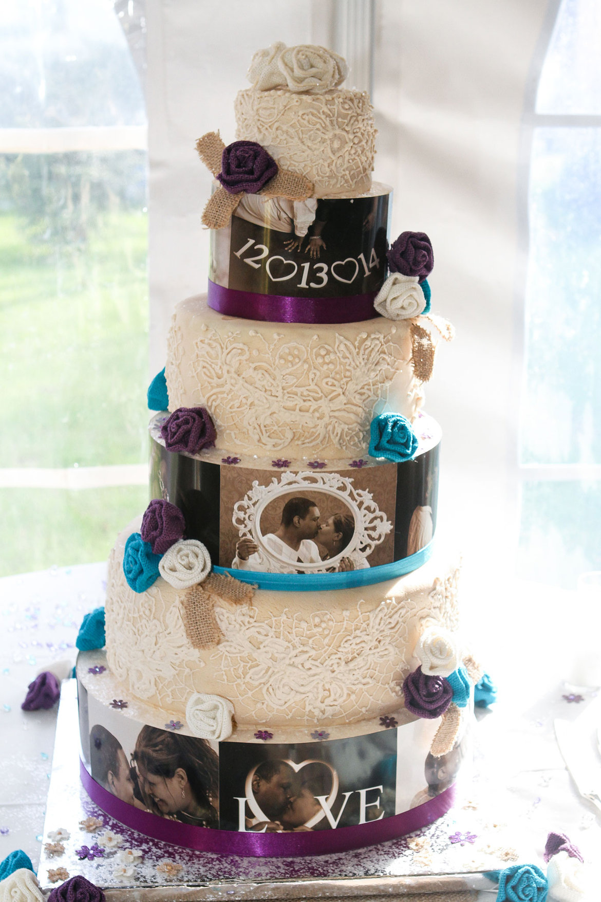 wedding cake decorated with engagement photos