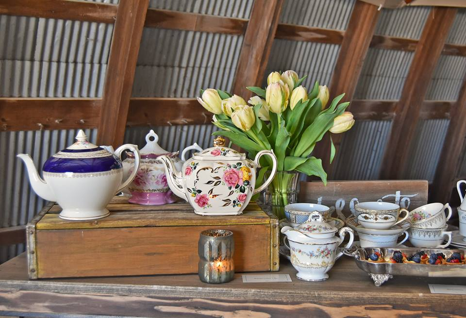 vintage tea pots wedding