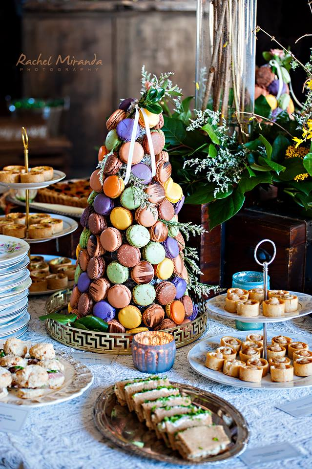 easter barn wedding food display